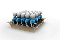 3d people in box, team work concept Stock Photography