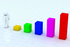 3D people business graph Stock Images