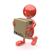 3D People with Cardboard box in Hands Stock Images