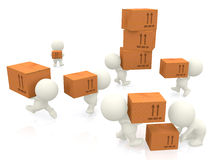 3D people carrying boxes Stock Photography