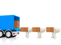 3D people carrying boxes Stock Images