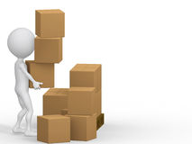 3d people carrying cardboard boxes. Royalty Free Stock Photos