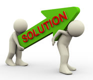 3d people carrying solution arrow Stock Photography