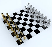 3d people in chess board Royalty Free Stock Photos
