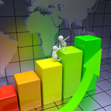 3D People Climbing on Chart Royalty Free Stock Images