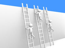 3d people climbing ladders. Royalty Free Stock Photography