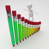 3D People Climbing on Pencil Chart Royalty Free Stock Photo
