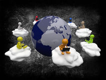 3D People Cloud Computing Stock Images