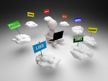 3D People Cloud Computing Stock Photo