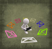 3D People with colorful Mail. On Grunge Background Royalty Free Stock Photo