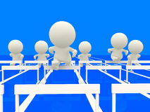 3D people competing at hurdles Stock Photo