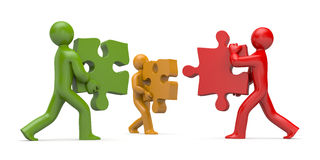 3d people connect puzzles Royalty Free Stock Image