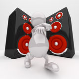 3D People Dancing. In Front of the Speakers Vector Illustration