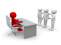 3d People - Employee And Employer In The Meeting Stock Images