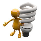 3D People with Energy Saving Lighting Bulb Royalty Free Stock Image