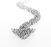 3d people forming an arrow. A large group of stylized 3d people forming an arrow Stock Photo