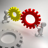3D People and gears Royalty Free Stock Photos