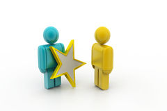 3d people with a golden star in a hand Royalty Free Stock Photos