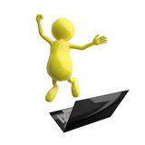 3D People Happy Jumping in front of Laptop. On White Background Stock Photos