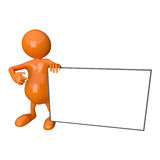 3D People Holding Blank Business Card. On White Background Stock Image