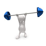 3D People holding Blue Weights. On White Background Stock Photo