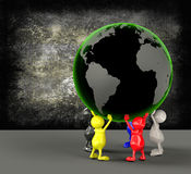 3D People holding Earth Globe Royalty Free Stock Photos