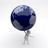 3D People Holding Earth Globe in Hand. 3D People Holding Blue Earth Globe in Hand Royalty Free Stock Photo