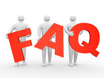 3d people holding Friendly asked question sign Stock Images