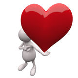 3D People Holding Heart in Hand Stock Photo