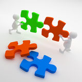 3D People holding  Puzzle Royalty Free Stock Images