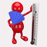 3D People Holding Thermometer Stock Image