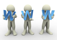 3d people holding www Royalty Free Stock Image
