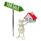 3D People house for sale Royalty Free Stock Photography