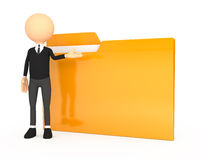 3d people - human character with folder. Royalty Free Stock Image