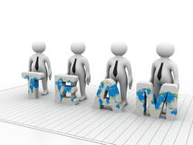 3D people- human character in team Stock Photo