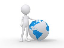 3d people icon and the earth globe. This is a 3d render illustration Stock Photos