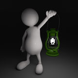 3D People with Lantern in Hands Royalty Free Stock Photos