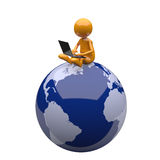3D People with Laptop and Earth Globe. 3D People with Laptop and Blue Earth Globe Stock Photo