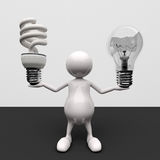 3D People With Lighting Bulb. Energy savings concept Royalty Free Stock Photography