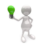 3D People with Lighting Bulb Green. On White Background Stock Photography