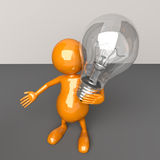 3D People with Lighting Bulb in Hand. On Dark Background Stock Image