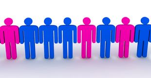 3d people in line - outsiders. Illustration on white Stock Photos