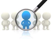 3D people with magnifier Royalty Free Stock Image
