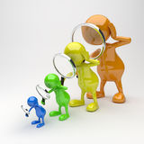 3D People with Magnifying Glass in Different Colors. On grey background stock illustration