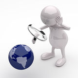 3D People with Magnifying Glass and Earth Globe. On White Background Royalty Free Stock Photography