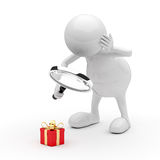 3D People with Magnifying Glass and Gift Box. On White Background Stock Photo