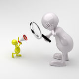 3D People Magnifying glass and Megaphone. 3D People with Magnifying glass and Megaphone vector illustration