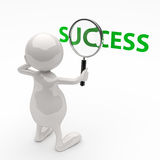 3D People with Magnifying Glass and Word Success. On White Background Stock Photo