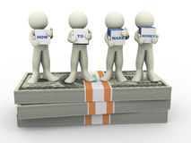 3d people make money. 3d render of men holding text boxes how to make money 3d illustration of human character Stock Photos