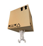 3d people man delivering big cardboard box. 3d cute people man delivering big cardboard box Royalty Free Stock Photo